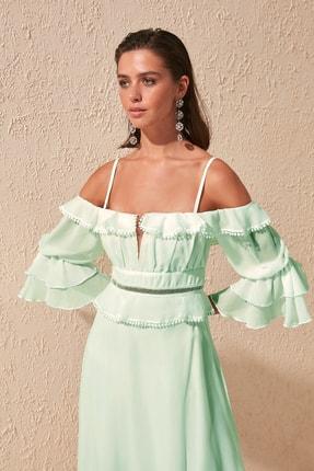 TRENDYOLMİLLA Mint Kol Detaylı Volanlı Şifon Abiye & Mezuniyet Elbisesi TPRSS19FZ0278 1