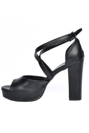 Ayakland Cilt Abiye 11 Cm Platform Topuk Kadın Sandalet Ayakkabı 3210-2058 3