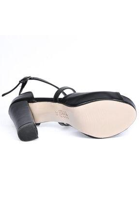 Ayakland Cilt Abiye 11 Cm Platform Topuk Kadın Sandalet Ayakkabı 3210-2058 4