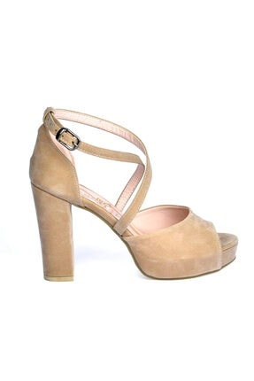 Ayakland Süet Abiye 11 Cm Platform Topuk Kadın Sandalet Ayakkabı 3210-2058 2
