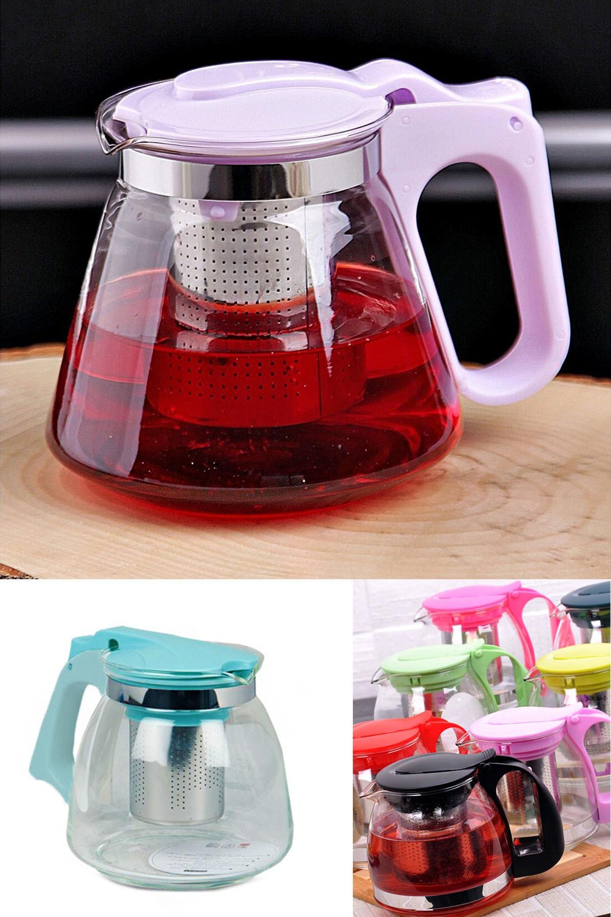 Süzgeçli Cam Demlik Tea Pot 700ml -çay Kahve Ve Bitki Çayı Çaydanlığı