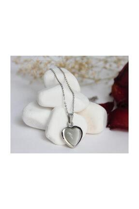 ERBE Paslanmaz Çelik Kalp Gri Taşlı Gümüş Rengi Kolye 0