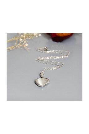 ERBE Paslanmaz Çelik Kalp Gri Taşlı Gümüş Rengi Kolye 2