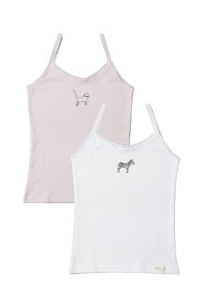 Katia & Bony Kız Çocuk Beyaz/Pembe Camelopardl 2'li İnce Askılı Atlet 0