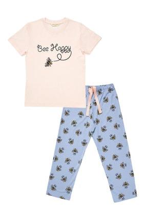 Katia & Bony Kız Çocuk Gül Pembe Bee Love Pijama Set 0