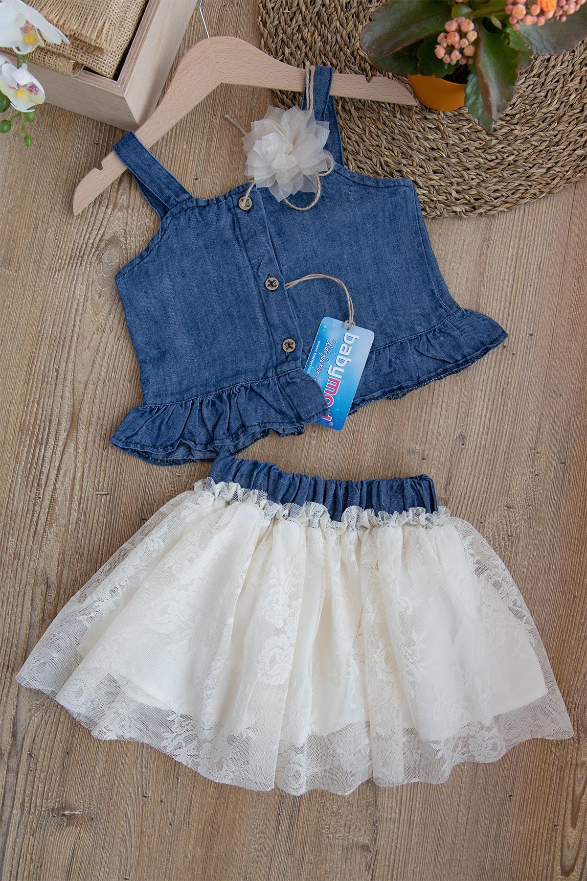 Kız Çocuk Kot Gömlek Güpürlü Etekli Takım