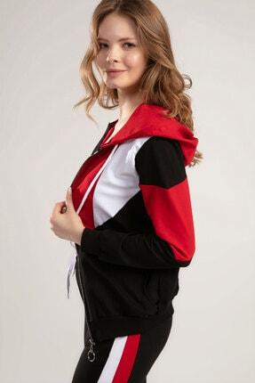 Y-London Kadın KIRMIZI Kapşonlu Uzun Kollu Eşofman Takımı Y20S151-1300 3