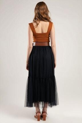 Y-London Kadın Lacivert Beli Lastikli Organze Uzun Etek Y20S110-1858 2