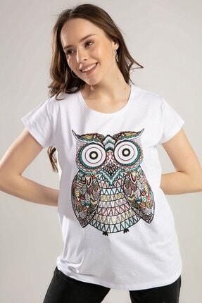 Y-London Kadın Beyaz Baykuş Baskılı Tişört Y20S150-1012 1
