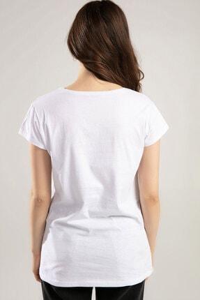 Y-London Kadın Beyaz Baykuş Baskılı Tişört Y20S150-1012 2