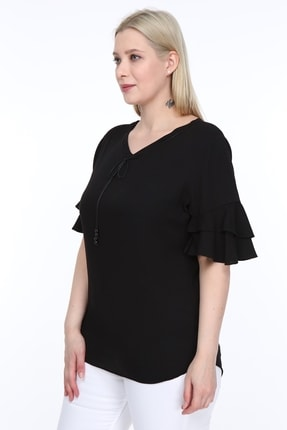 Lir Kadın Büyük Beden Volanlı Kol Bluz Siyah 1