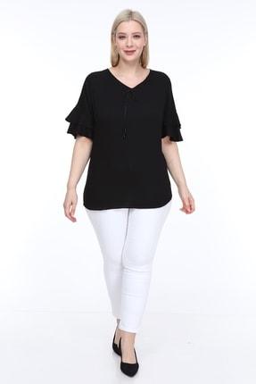 Lir Kadın Büyük Beden Volanlı Kol Bluz Siyah 3