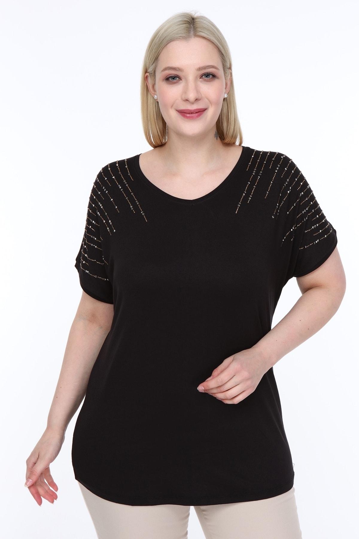 Kadın Siyah Mineral Taş Dizayn Tasarım Bluz