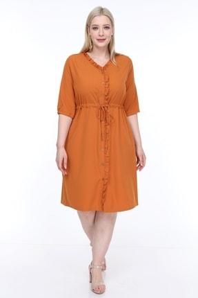 تصویر از Kadın Büyük Beden Fırfırlı Düğmeli Truvakar Kol Elbise Hardal