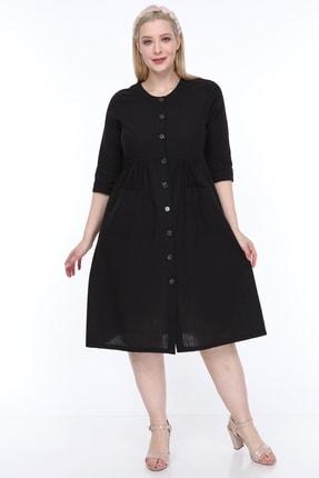 Kadın Büyük Beden Cepli Düğmeli Elbise Siyah resmi