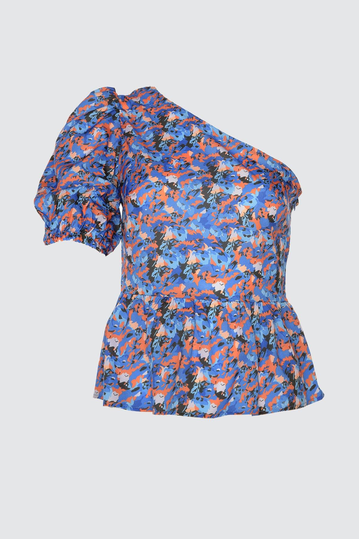 Mavi Baskı Desenli Bluz TWOSS20BZ1237