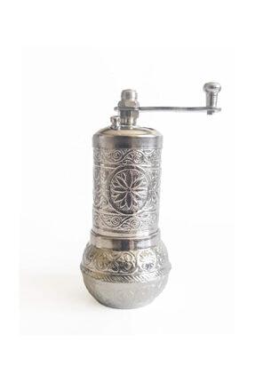 VayaPera Osmanlı Bakır Değirmen Karabiber Tuz Kahve Öğütücü Baharat El Değirmeni Gümüş 0