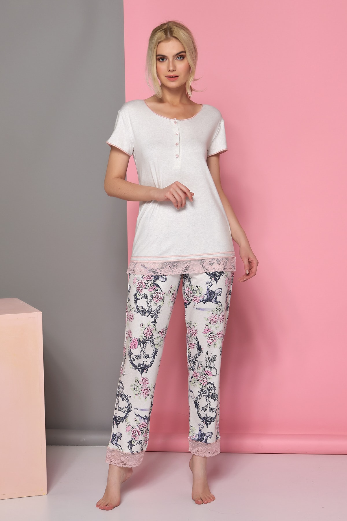 Kadın Bej Melanj Pijama Takım