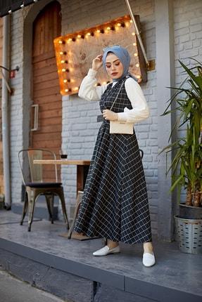 festmoda 837-066 Kare Desen Jile Elbise Tesettür Kombin Siyah 3