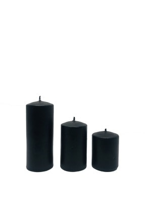 Royal Mum Silindir Mum Siyah Renk 3 Lü Set - Pudra Kokulu 1