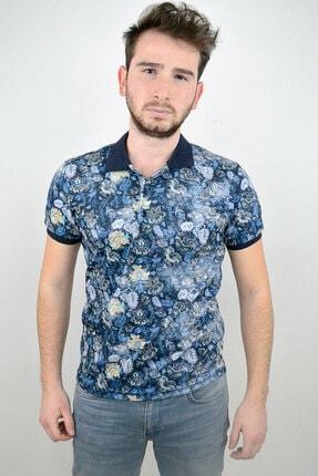 Mcr Polo Yaka T-shirt Lacivert Çiçekli Model 0
