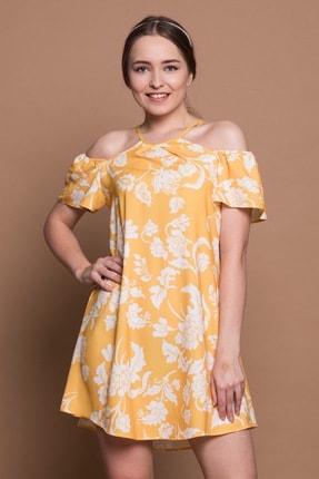 Kadın Elbise Rahat Kalıp Çiçekli Sarı SM142