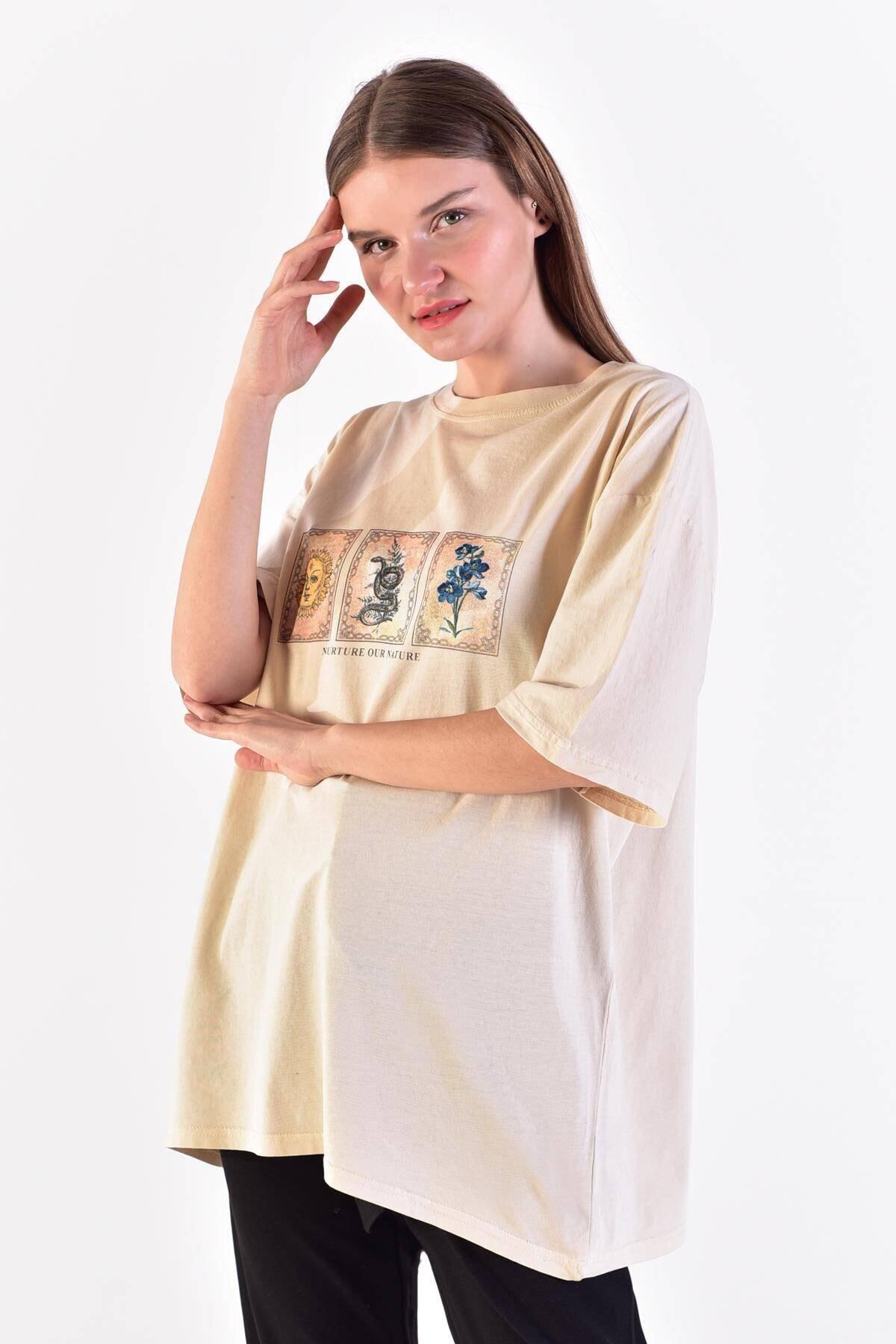 Addax Kadın Taş Önü Baskılı T-Shirt ADX-0000021582 0