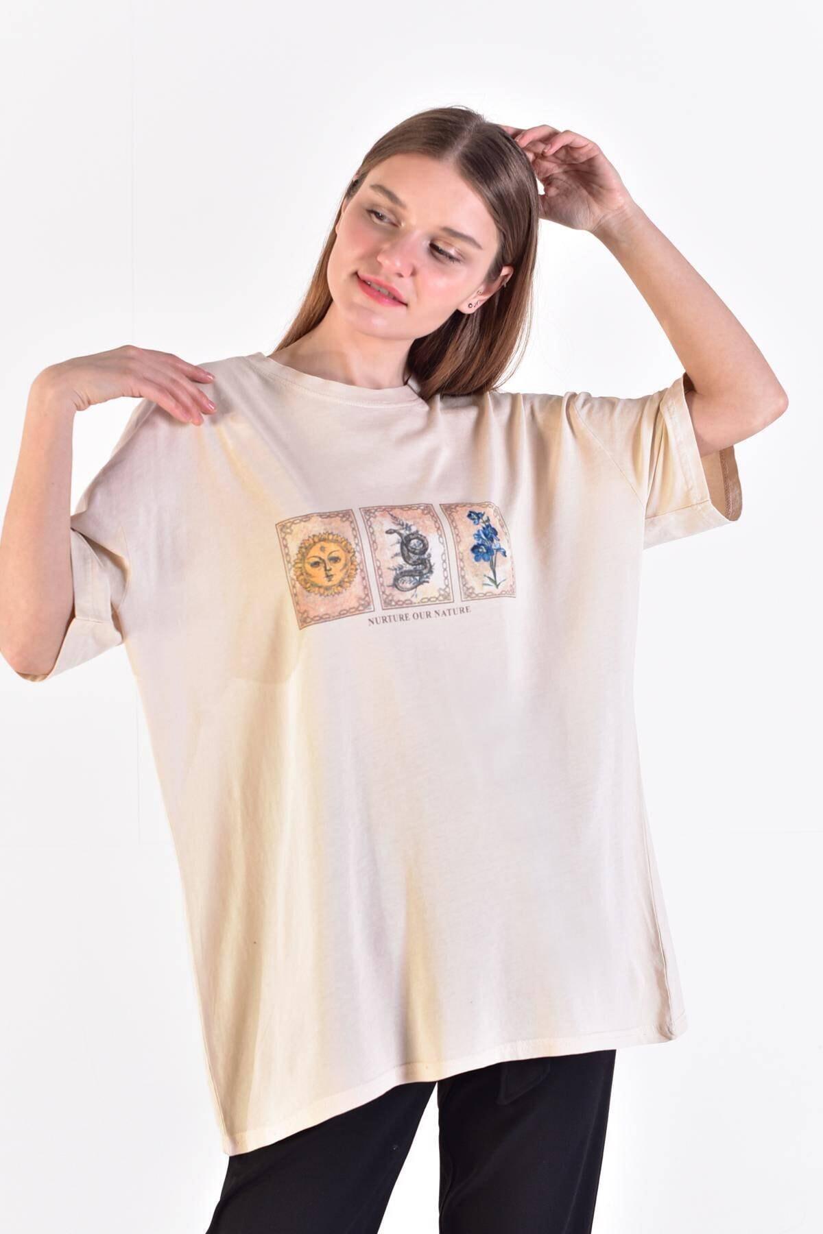 Addax Kadın Taş Önü Baskılı T-Shirt ADX-0000021582 2