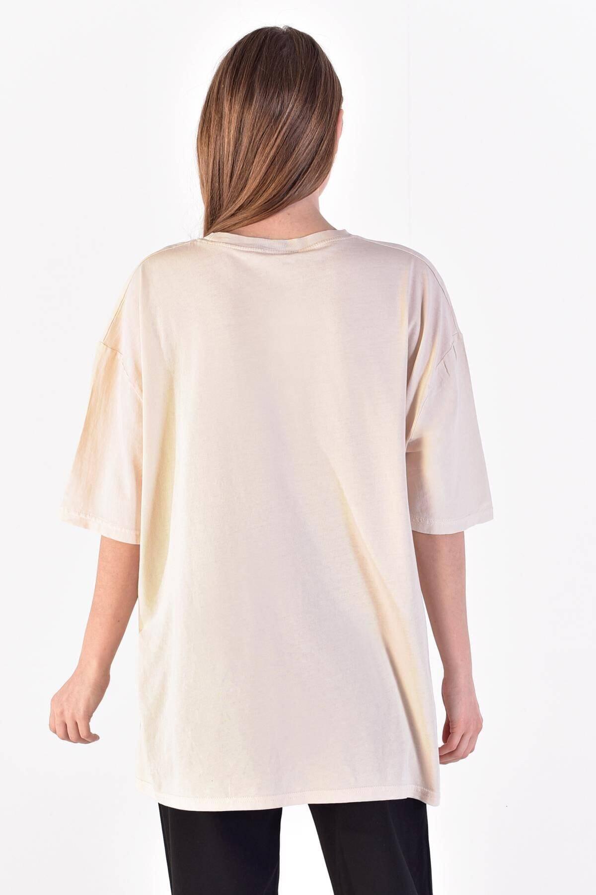 Addax Kadın Taş Önü Baskılı T-Shirt ADX-0000021582 4