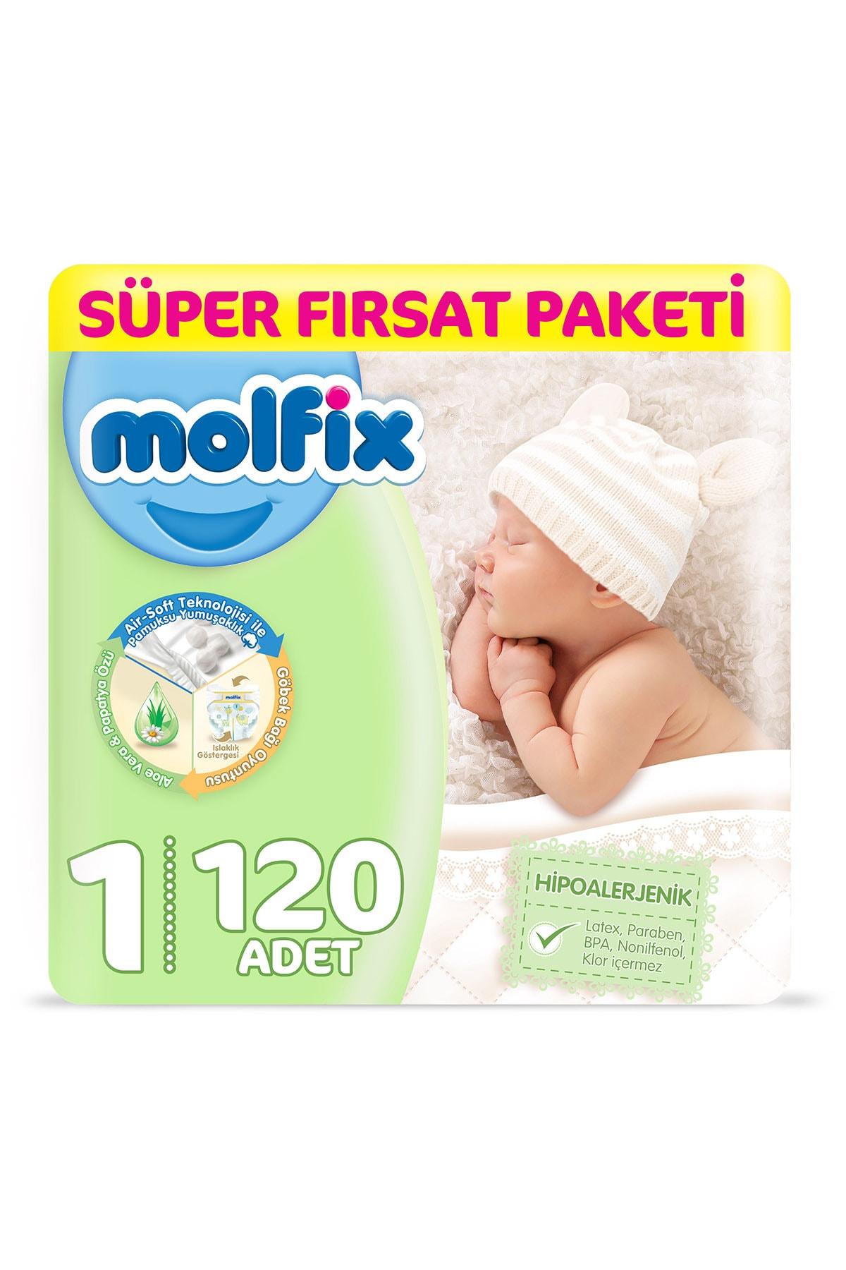 Molfix Bebek Bezi 1 Beden Yenidoğan 120 Adet + 1 Adet Islak Mendil Hediye 0