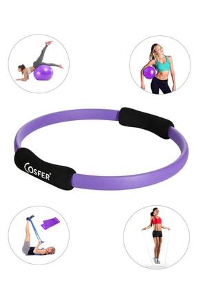 Cosfer Pilates Çemberi - Pilates Topu, Pilates Bandı, Atlama Ipi Ve Denge Topu - 5 Li Pilates Seti - Mor 0