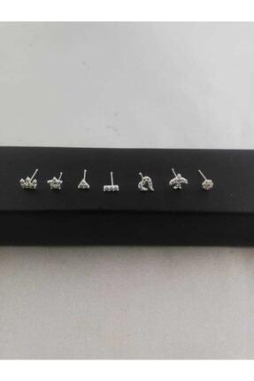Takıparkxs 925 Ayar Zirkon Taşlı Yedili Gümüş Hızma Set 0