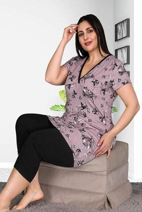 Lady Büyük Beden Kapri Pijama Takımı 1