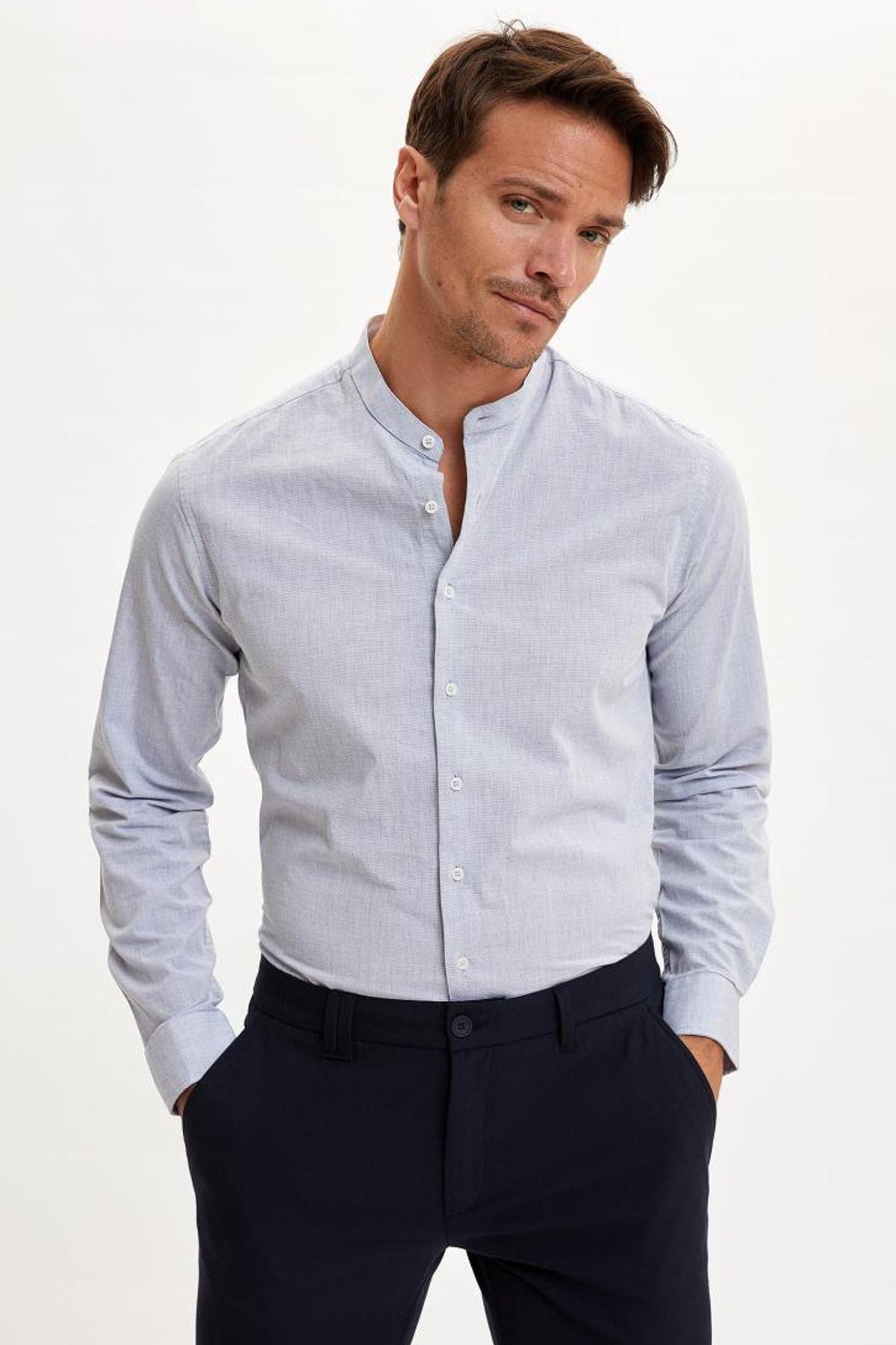 Erkek Mavi Hakim Yaka Slim Fit Gömlek