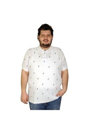 Picture of Battal Beden Erkek Tshirt Polo Yaka Flamingo 20407 Beyaz