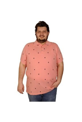 Picture of Battal Beden Erkek Tshirt Polo Yaka Palm Teers 20409 Somon