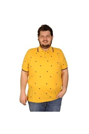 Picture of Battal Beden Erkek Tshirt Polo Yaka Palm Teers 20409 Hardal