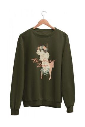Angemiel Wear Love No Drama Llama Haki Yeşil Kadın Sweatshirt 1