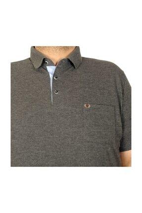 ModeXL Battal Beden Erkek Tshirt Polo Yaka Cepli Klasik Pike 20552 Antramelanj 3