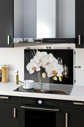 Decorita Orkideli Mutfak | Ocak Arkası Koruyucu | 49.5cm x 76cm 0