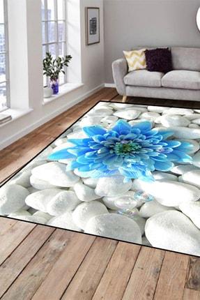 Else Halı 133X180 Else Hali Mavi Çiçekli Modern Dekoratif 3D Salon Halilari 0