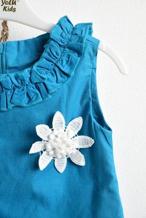 ÇocukYoluKids Yeşil Fırfırlı Elbise 1