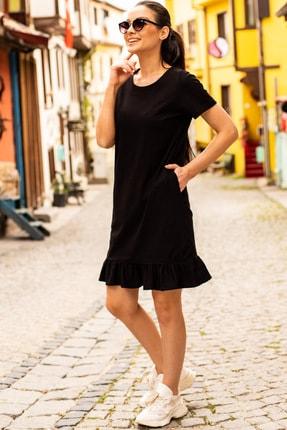 armonika Kadın Siyah Kısa Kollu Altı Fırfırlı Elbise ARM-20Y001032 0