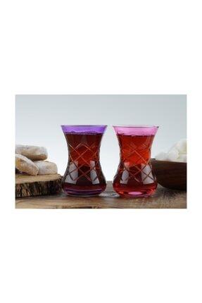 Nişantaşı Renkli Kesme Çay Bardak 6'lı 2