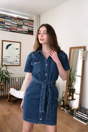 TRENDYOLMİLLA Mavi Kemerli Mini Denim Elbise TWOSS20EL2355 0