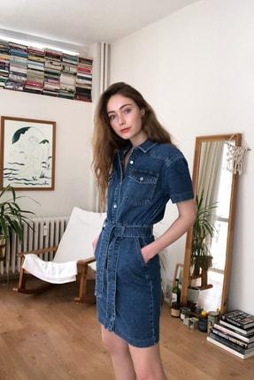 TRENDYOLMİLLA Mavi Kemerli Mini Denim Elbise TWOSS20EL2355 1