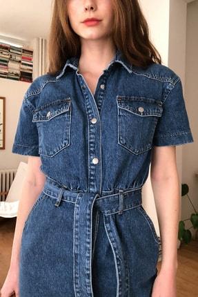 TRENDYOLMİLLA Mavi Kemerli Mini Denim Elbise TWOSS20EL2355 2