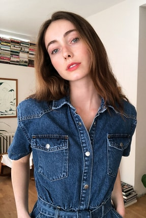 TRENDYOLMİLLA Mavi Kemerli Mini Denim Elbise TWOSS20EL2355 3