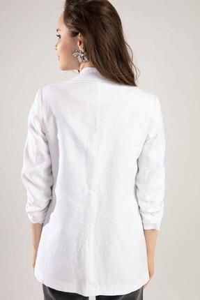 Y-London Kadın Beyaz Kolu Lastikli Keten Ceket Y19W109-38034 3