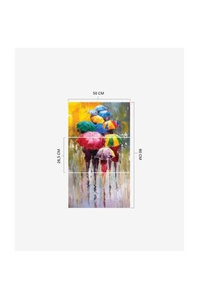 Pi Dekorasyon Renkli Şemsiyeler 3 Parça Mdf Tablo 2